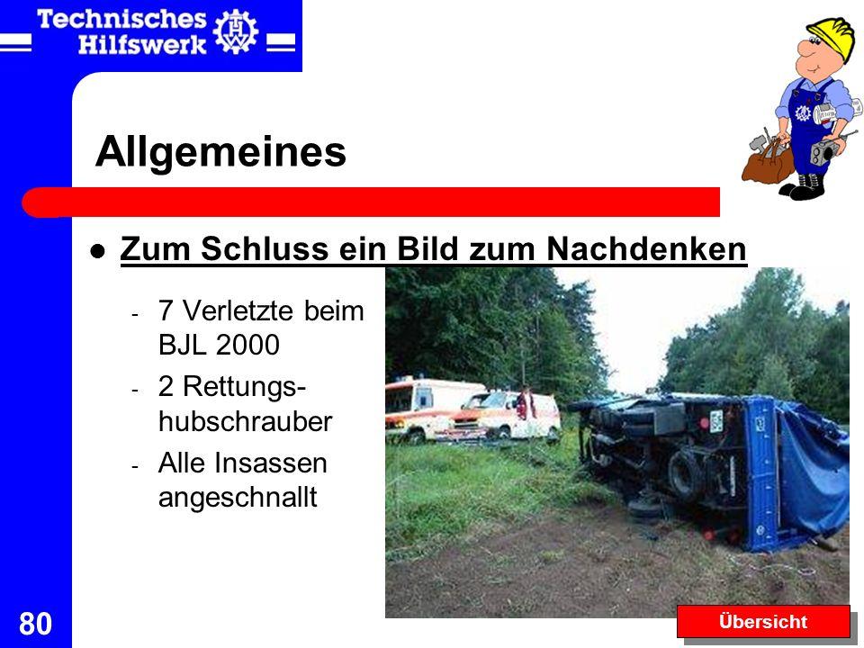 80 Zum Schluss ein Bild zum Nachdenken - 7 Verletzte beim BJL 2000 - 2 Rettungs- hubschrauber - Alle Insassen angeschnallt Allgemeines Übersicht