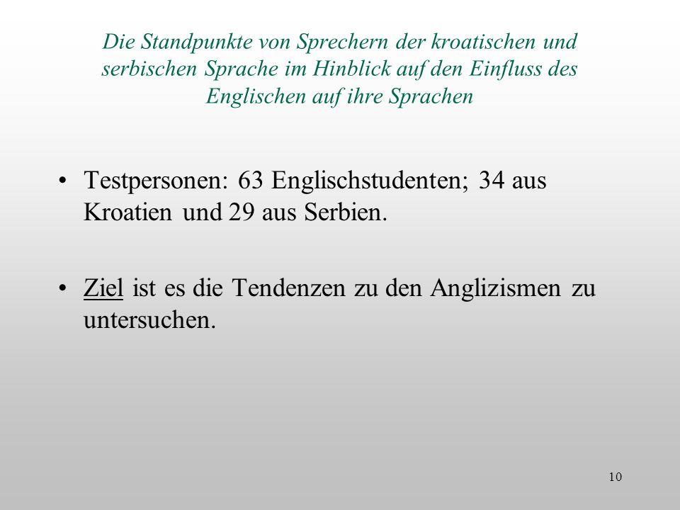 Die Standpunkte von Sprechern der kroatischen und serbischen Sprache im Hinblick auf den Einfluss des Englischen auf ihre Sprachen Testpersonen: 63 En
