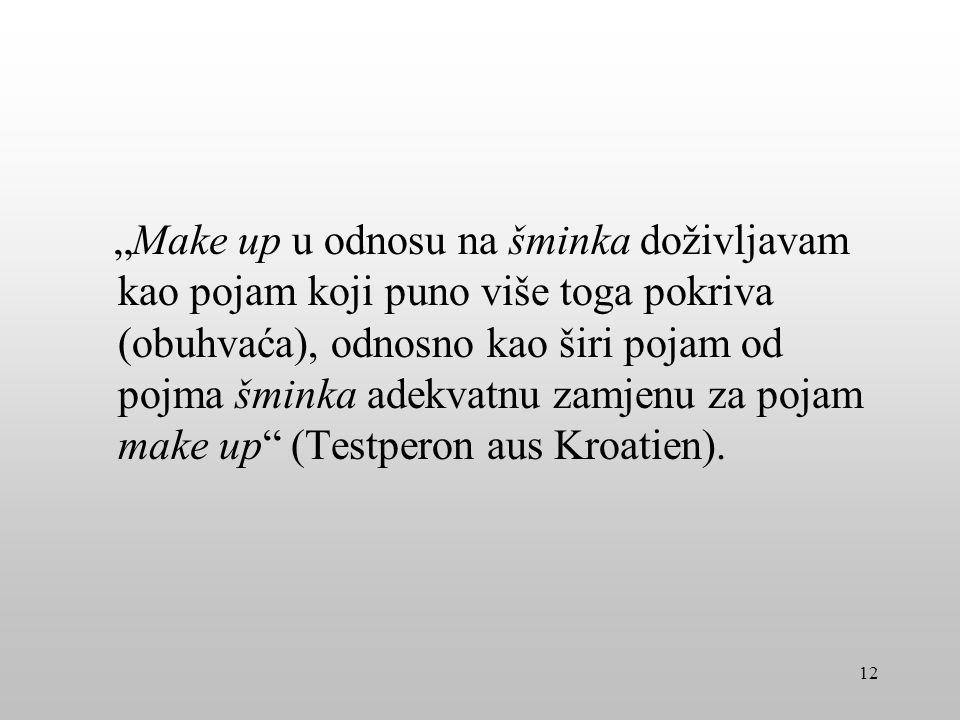 Make up u odnosu na šminka doživljavam kao pojam koji puno više toga pokriva (obuhvaća), odnosno kao širi pojam od pojma šminka adekvatnu zamjenu za p