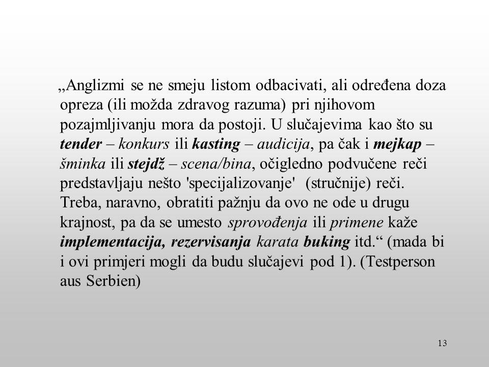 Ein Denkanstoß von einer serbischen Testperson: Mediji, škole i fakulteti ključni su za promicanje domaćih zamjena za anglizme.