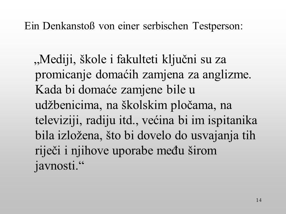 Ein Denkanstoß von einer serbischen Testperson: Mediji, škole i fakulteti ključni su za promicanje domaćih zamjena za anglizme. Kada bi domaće zamjene