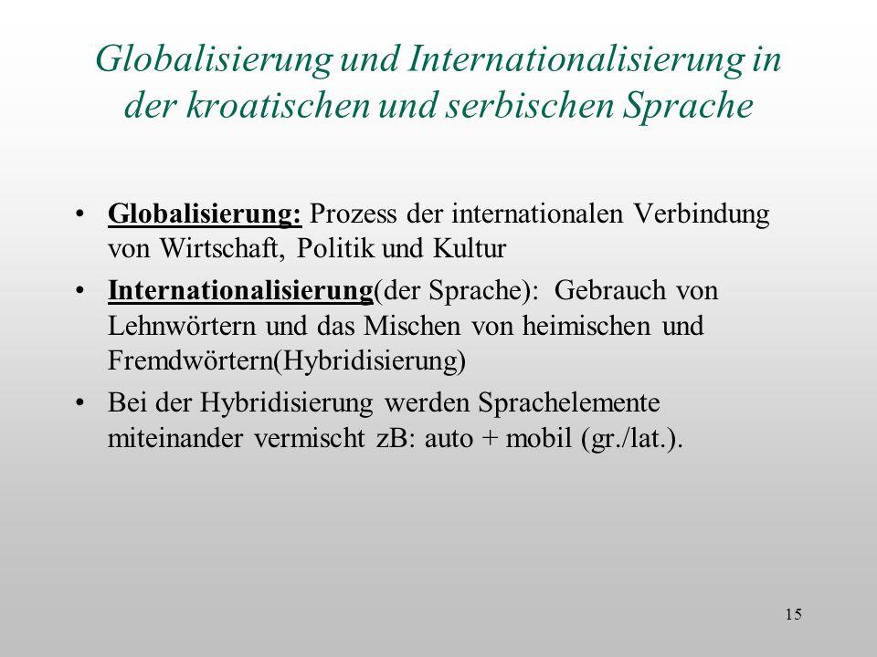 Globalisierung und Internationalisierung in der kroatischen und serbischen Sprache Globalisierung: Prozess der internationalen Verbindung von Wirtscha