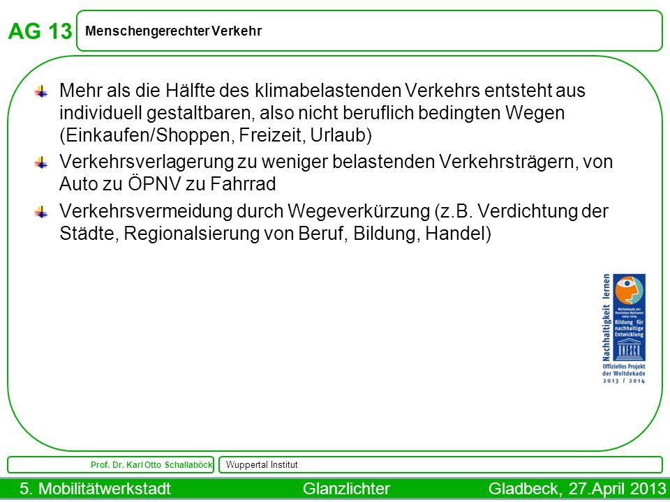 5. Mobilitätwerkstadt Glanzlichter Gladbeck, 27.April 2013 AG 13 Menschengerechter Verkehr Prof. Dr. Karl Otto Schallaböck Wuppertal Institut Mehr als