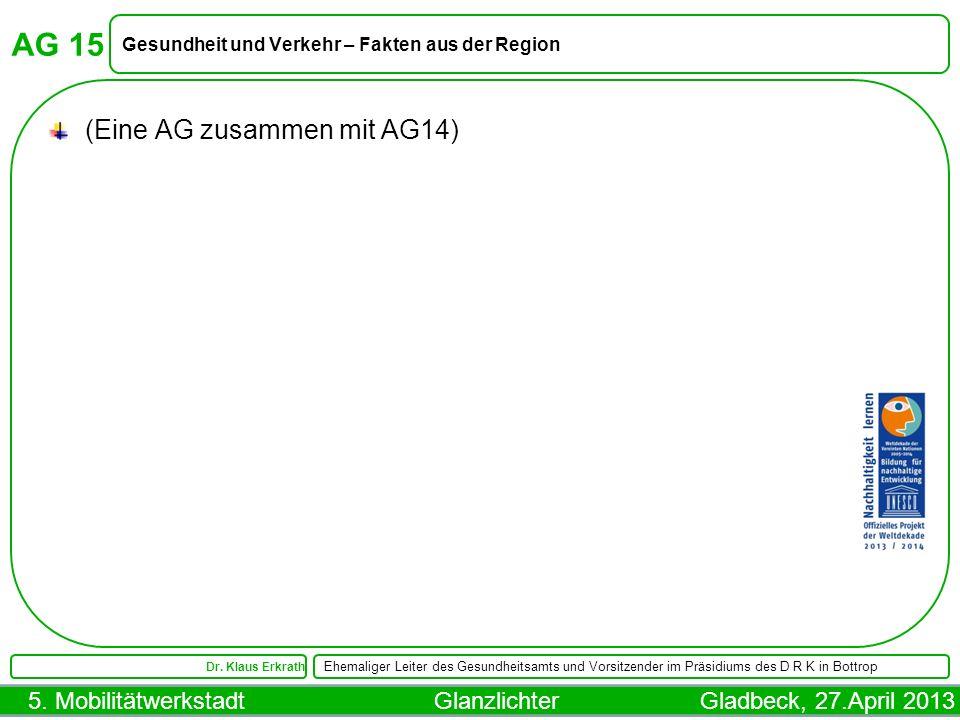 5. Mobilitätwerkstadt Glanzlichter Gladbeck, 27.April 2013 AG 15 Gesundheit und Verkehr – Fakten aus der Region Dr. Klaus Erkrath Ehemaliger Leiter de
