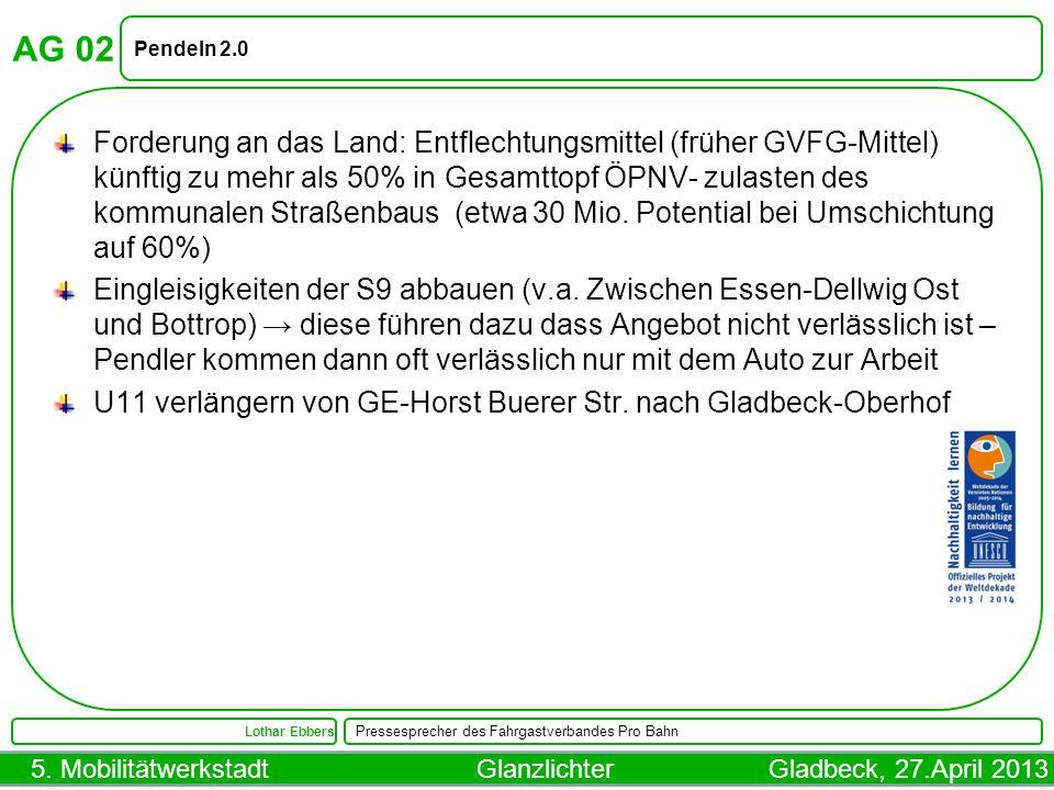 5. Mobilitätwerkstadt Glanzlichter Gladbeck, 27.April 2013 AG 02 Pendeln 2.0 Lothar Ebbers Pressesprecher des Fahrgastverbandes Pro Bahn Forderung an