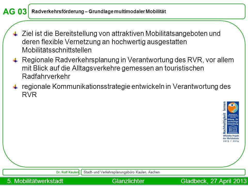 5. Mobilitätwerkstadt Glanzlichter Gladbeck, 27.April 2013 AG 03 Radverkehrsförderung – Grundlage multimodaler Mobilität Dr. Rolf Kaulen Stadt- und Ve