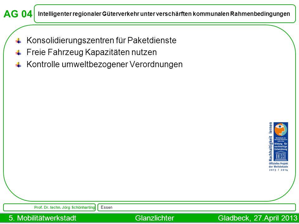 5. Mobilitätwerkstadt Glanzlichter Gladbeck, 27.April 2013 AG 04 Intelligenter regionaler Güterverkehr unter verschärften kommunalen Rahmenbedingungen