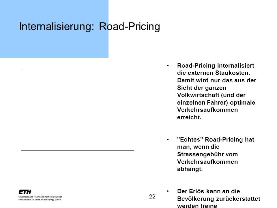 22 Internalisierung: Road-Pricing Road-Pricing internalisiert die externen Staukosten. Damit wird nur das aus der Sicht der ganzen Volkwirtschaft (und