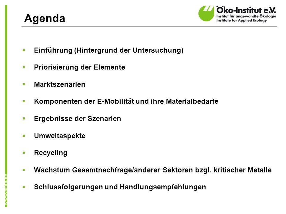 Agenda Einführung (Hintergrund der Untersuchung) Priorisierung der Elemente Marktszenarien Komponenten der E-Mobilität und ihre Materialbedarfe Ergebnisse der Szenarien Umweltaspekte Recycling Wachstum Gesamtnachfrage/anderer Sektoren bzgl.