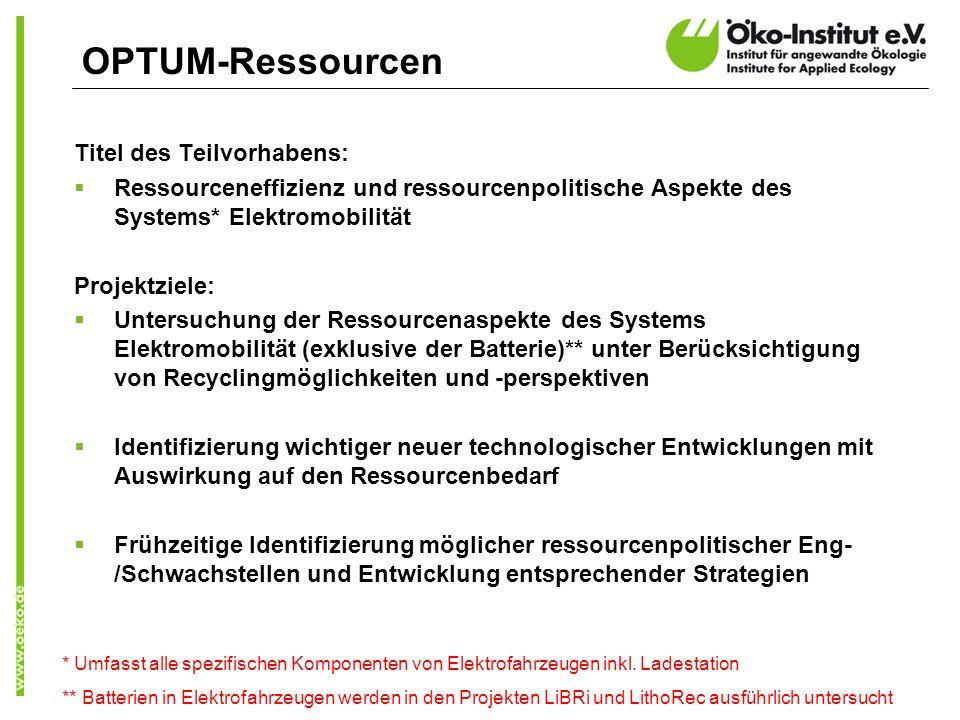 OPTUM-Ressourcen Titel des Teilvorhabens: Ressourceneffizienz und ressourcenpolitische Aspekte des Systems* Elektromobilität Projektziele: Untersuchun