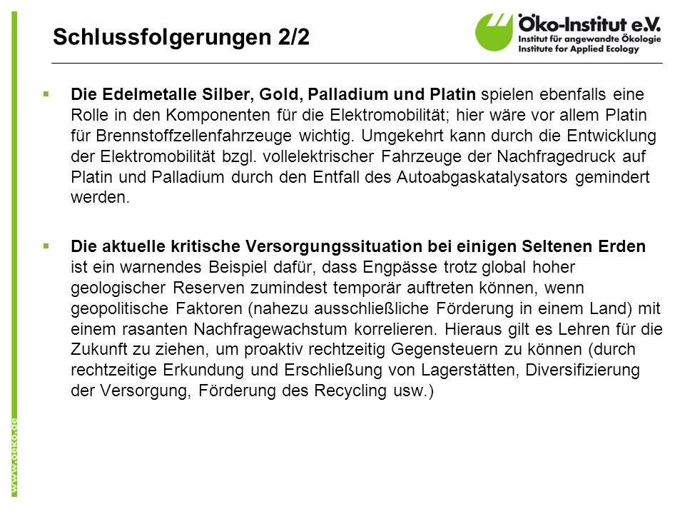 Schlussfolgerungen 2/2 Die Edelmetalle Silber, Gold, Palladium und Platin spielen ebenfalls eine Rolle in den Komponenten für die Elektromobilität; hier wäre vor allem Platin für Brennstoffzellenfahrzeuge wichtig.