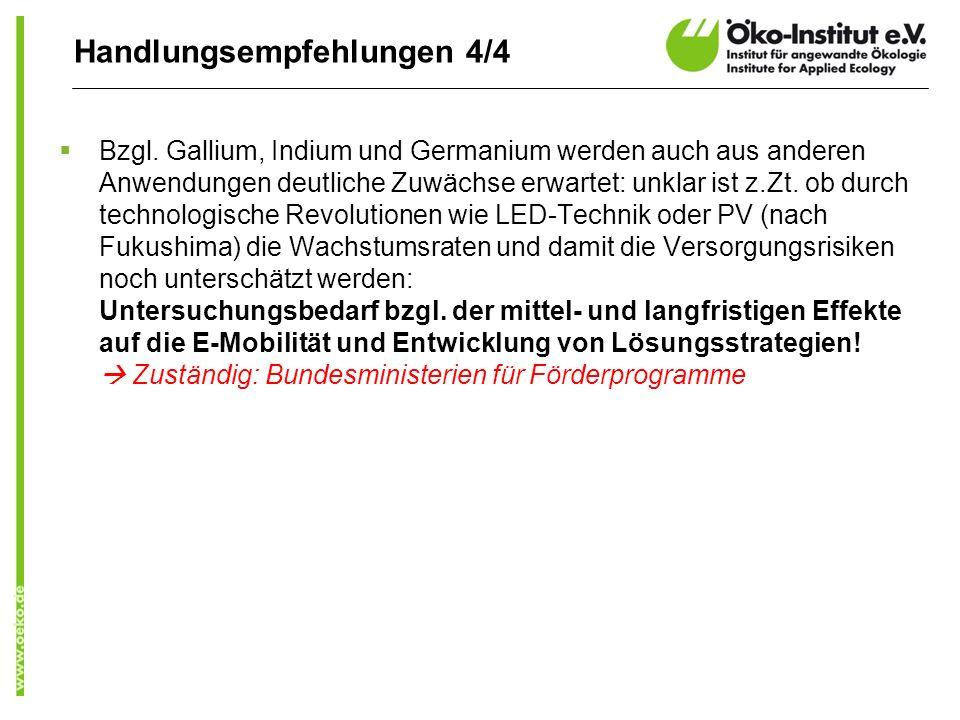 Handlungsempfehlungen 4/4 Bzgl. Gallium, Indium und Germanium werden auch aus anderen Anwendungen deutliche Zuwächse erwartet: unklar ist z.Zt. ob dur