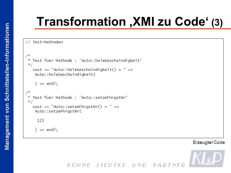Management von Schnittstellen-Informationen Transformation XMI zu Code (3) // Test-Methoden /* * Test fuer Methode : 'Auto::holeGeschwindigkeit' */ co