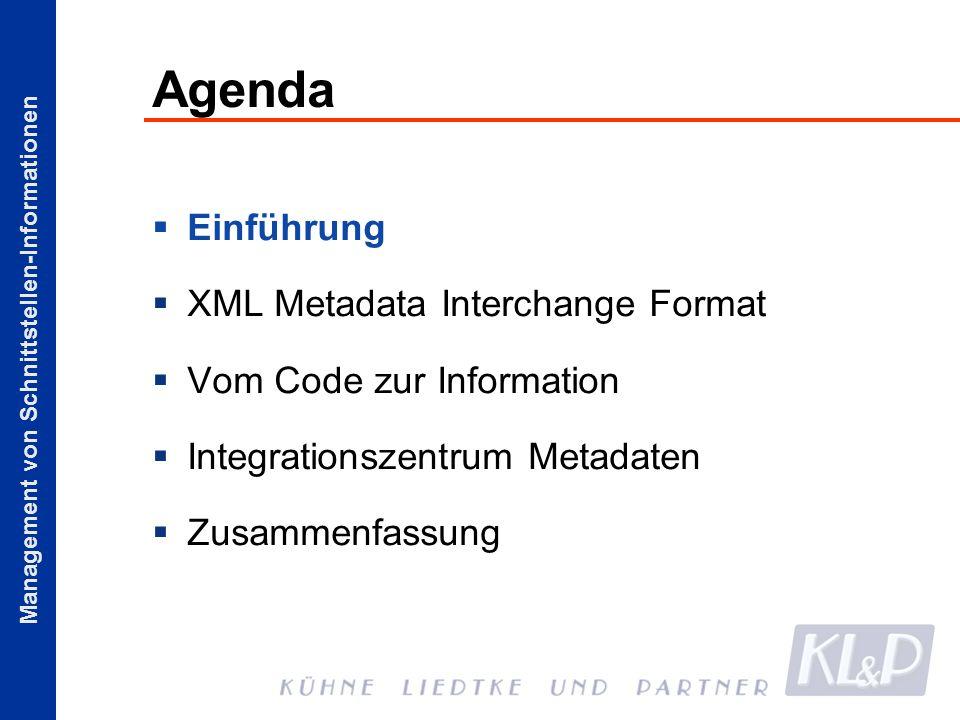 Agenda Einführung XML Metadata Interchange Format Vom Code zur Information Integrationszentrum Metadaten Zusammenfassung