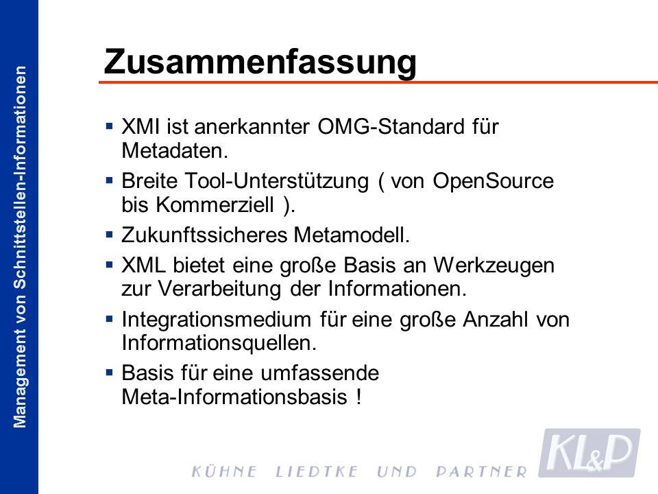 Management von Schnittstellen-Informationen Zusammenfassung XMI ist anerkannter OMG-Standard für Metadaten. Breite Tool-Unterstützung ( von OpenSource