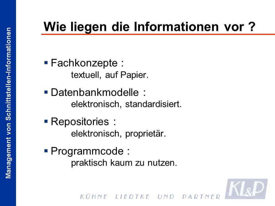 Management von Schnittstellen-Informationen Wie liegen die Informationen vor ? Fachkonzepte : textuell, auf Papier. Datenbankmodelle : elektronisch, s
