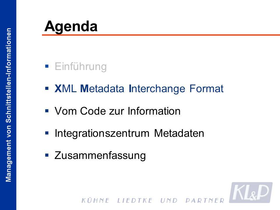 Management von Schnittstellen-Informationen Agenda Einführung XML Metadata Interchange Format Vom Code zur Information Integrationszentrum Metadaten Z