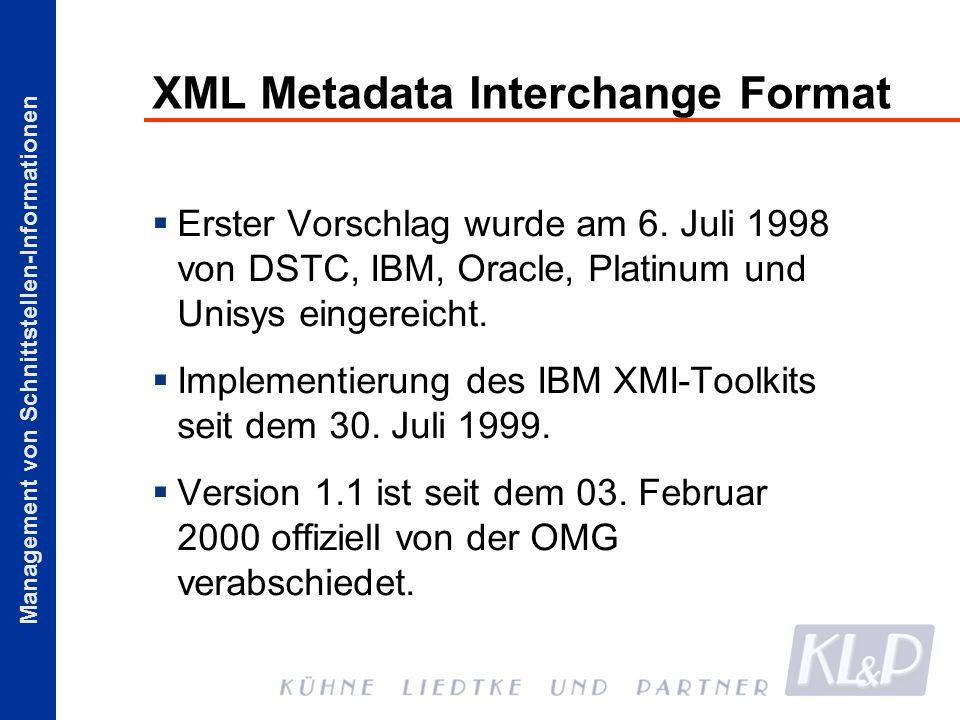 Management von Schnittstellen-Informationen XML Metadata Interchange Format Erster Vorschlag wurde am 6. Juli 1998 von DSTC, IBM, Oracle, Platinum und