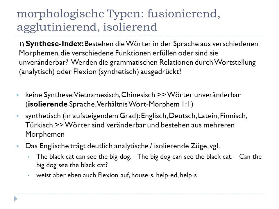 morphologische Typen: fusionierend, agglutinierend, isolierend 1) Synthese-Index: Bestehen die Wörter in der Sprache aus verschiedenen Morphemen, die