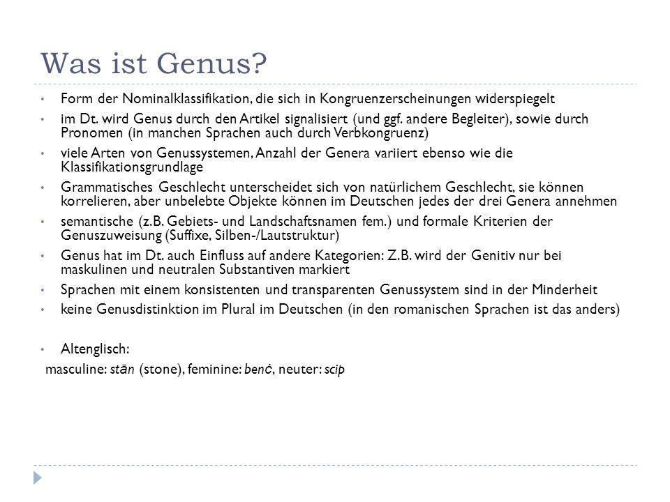 Was ist Genus? Form der Nominalklassifikation, die sich in Kongruenzerscheinungen widerspiegelt im Dt. wird Genus durch den Artikel signalisiert (und