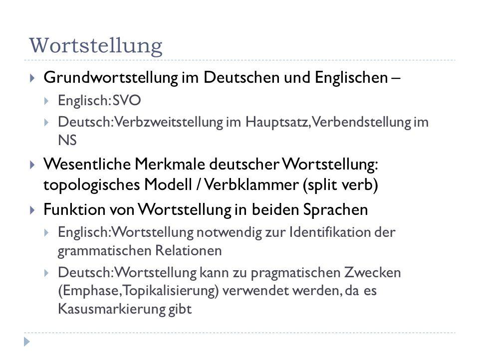 Wortstellung Grundwortstellung im Deutschen und Englischen – Englisch: SVO Deutsch: Verbzweitstellung im Hauptsatz, Verbendstellung im NS Wesentliche