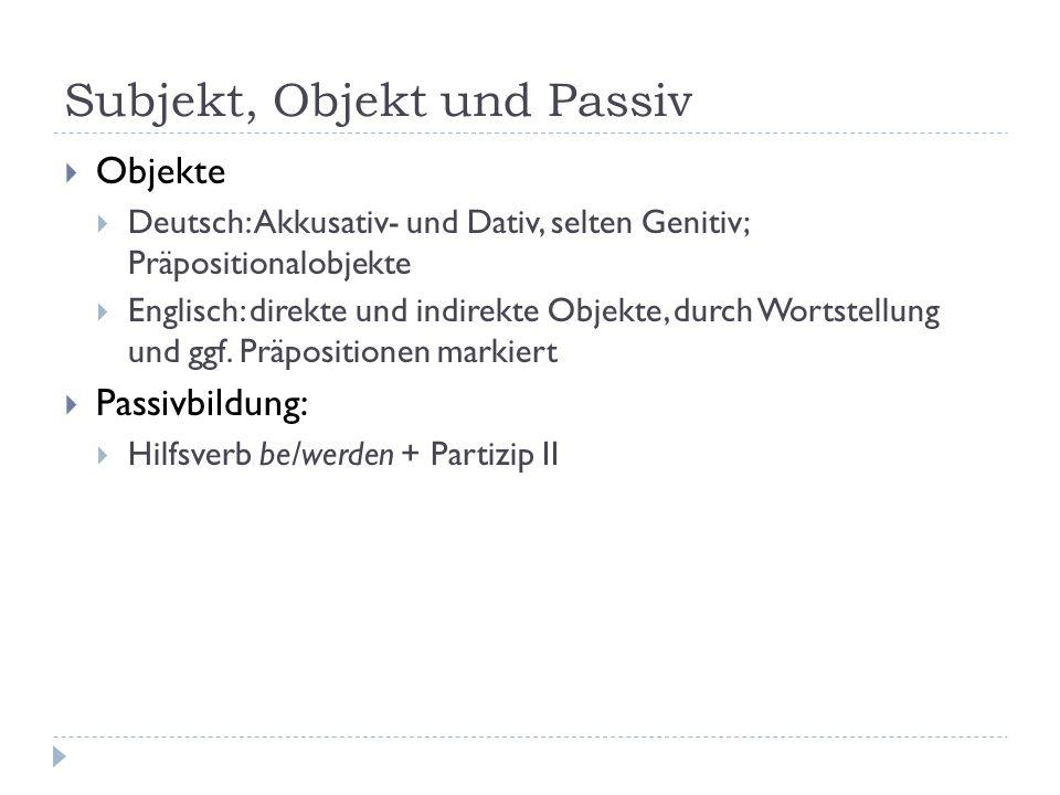 Subjekt, Objekt und Passiv Objekte Deutsch: Akkusativ- und Dativ, selten Genitiv; Präpositionalobjekte Englisch: direkte und indirekte Objekte, durch