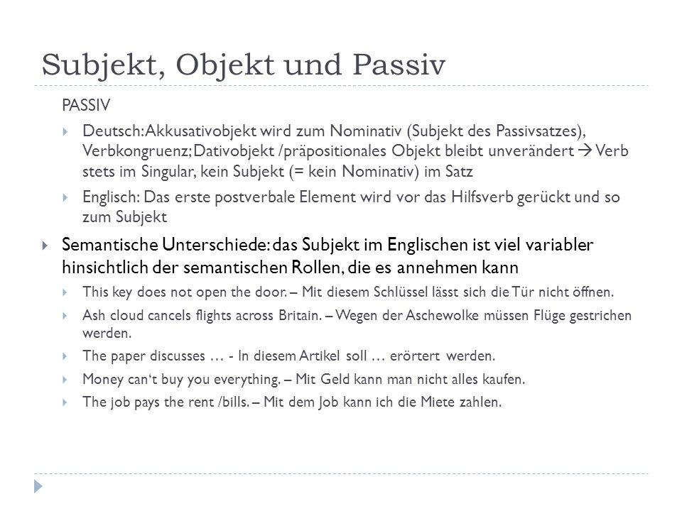 Subjekt, Objekt und Passiv PASSIV Deutsch: Akkusativobjekt wird zum Nominativ (Subjekt des Passivsatzes), Verbkongruenz; Dativobjekt /präpositionales