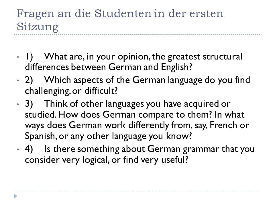 Antworten der TeilnehmerInnen Kasus Genus Kongruenzerscheinungen (Adjektivendungen, Verbalflexion) Wortstellung (split verb Satzklammer)