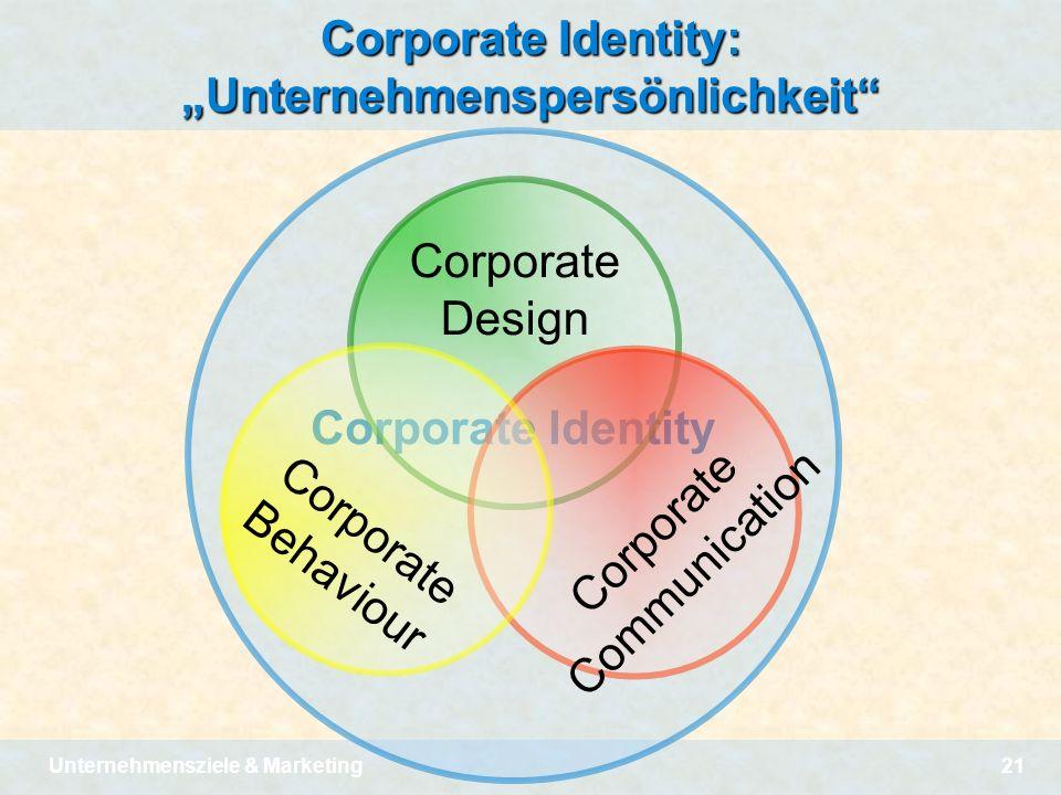 Unternehmensziele & Marketing21 Corporate Identity Corporate Identity: Unternehmenspersönlichkeit Corporate Design C o r p o r a t e C o m m u n i c a