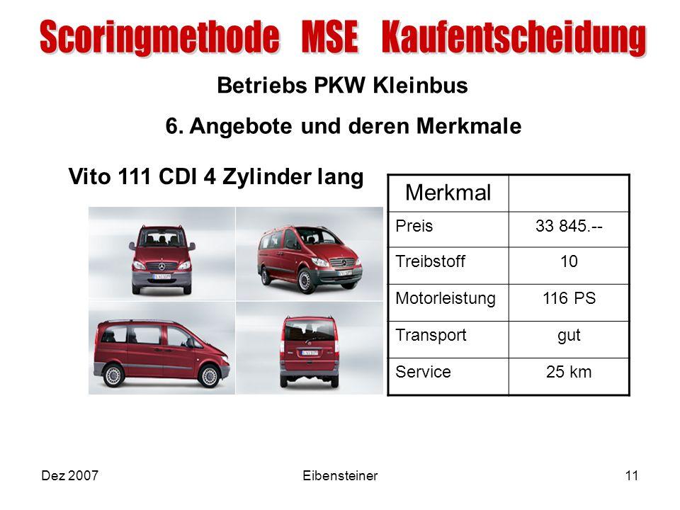 Betriebs PKW Kleinbus Dez 2007Eibensteiner11 6. Angebote und deren Merkmale Merkmal Preis33 845.-- Treibstoff10 Motorleistung116 PS Transportgut Servi