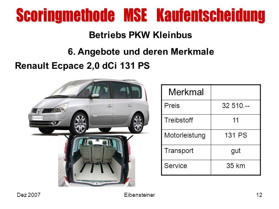 Betriebs PKW Kleinbus Dez 2007Eibensteiner12 6. Angebote und deren Merkmale Merkmal Preis32 510.-- Treibstoff11 Motorleistung131 PS Transportgut Servi