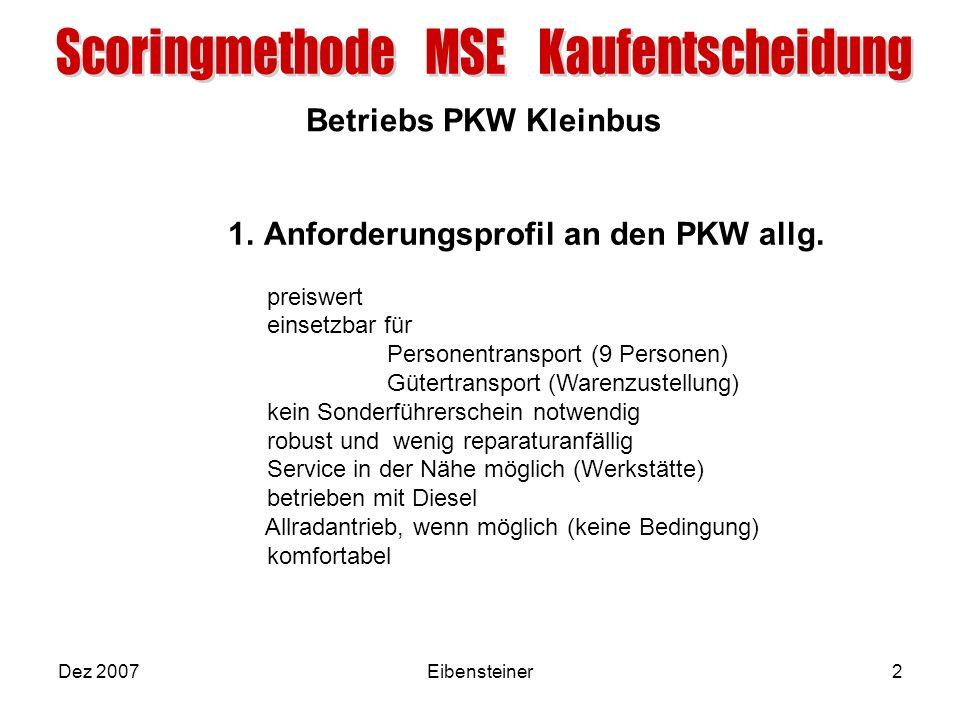 Betriebs PKW Kleinbus Dez 2007Eibensteiner2 1.Anforderungsprofil an den PKW allg. preiswert einsetzbar für Personentransport (9 Personen) Gütertranspo