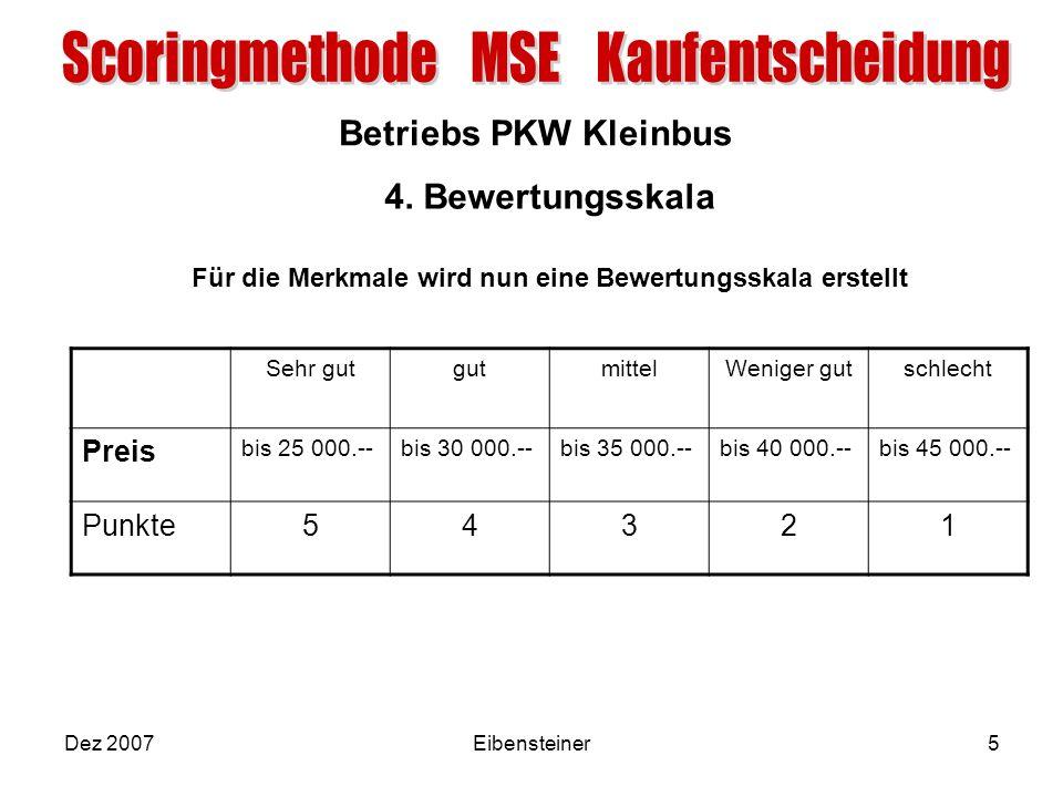 Betriebs PKW Kleinbus Dez 2007Eibensteiner5 4. Bewertungsskala Für die Merkmale wird nun eine Bewertungsskala erstellt Sehr gutgutmittelWeniger gutsch