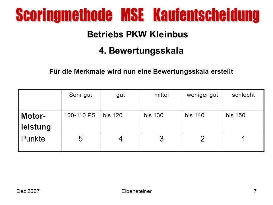 Betriebs PKW Kleinbus Dez 2007Eibensteiner7 4. Bewertungsskala Für die Merkmale wird nun eine Bewertungsskala erstellt Sehr gutgutmittelweniger gutsch