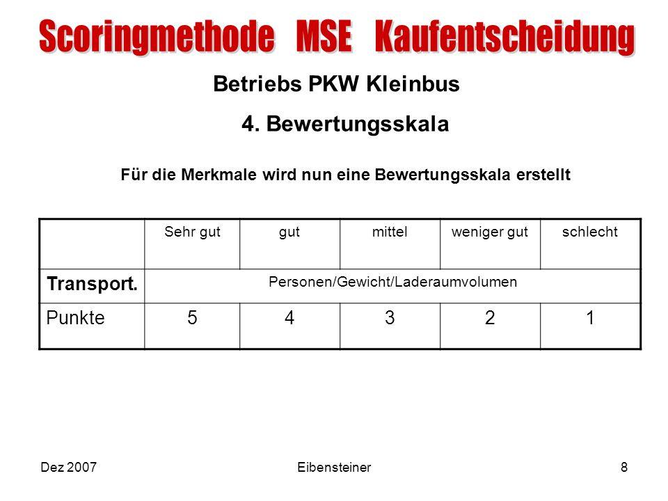 Betriebs PKW Kleinbus Dez 2007Eibensteiner8 4. Bewertungsskala Für die Merkmale wird nun eine Bewertungsskala erstellt Sehr gutgutmittelweniger gutsch