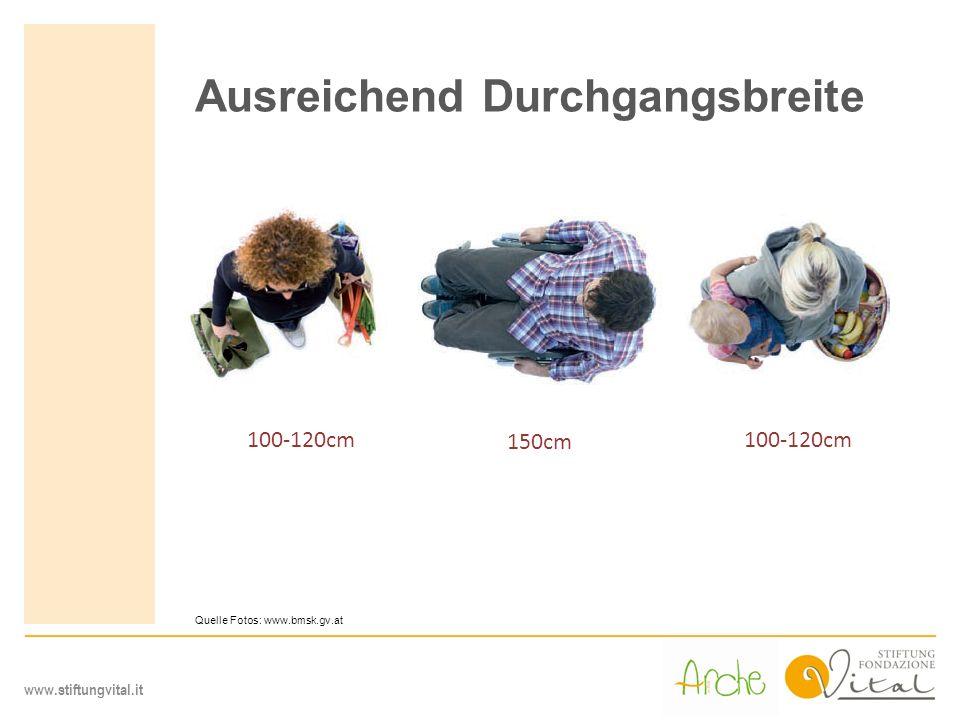 www.stiftungvital.it Ausreichend Durchgangsbreite 100-120cm 150cm Quelle Fotos: www.bmsk.gv.at