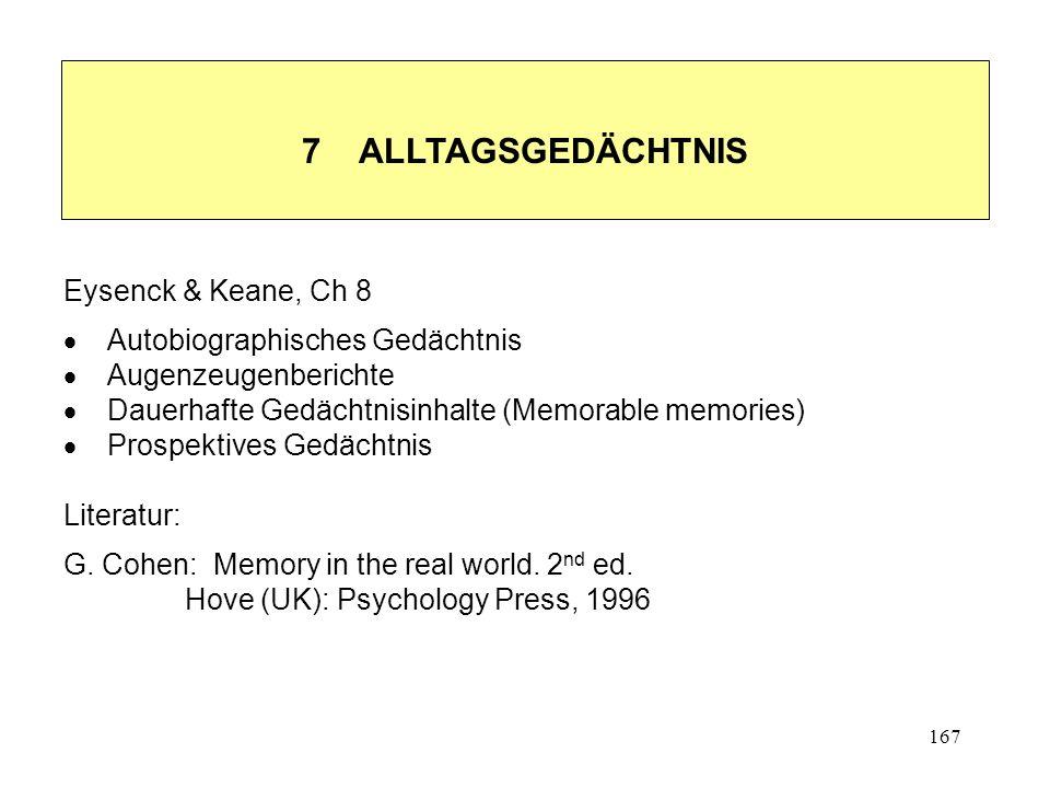 167 7 ALLTAGSGEDÄCHTNIS Eysenck & Keane, Ch 8 Autobiographisches Gedächtnis Augenzeugenberichte Dauerhafte Gedächtnisinhalte (Memorable memories) Pros