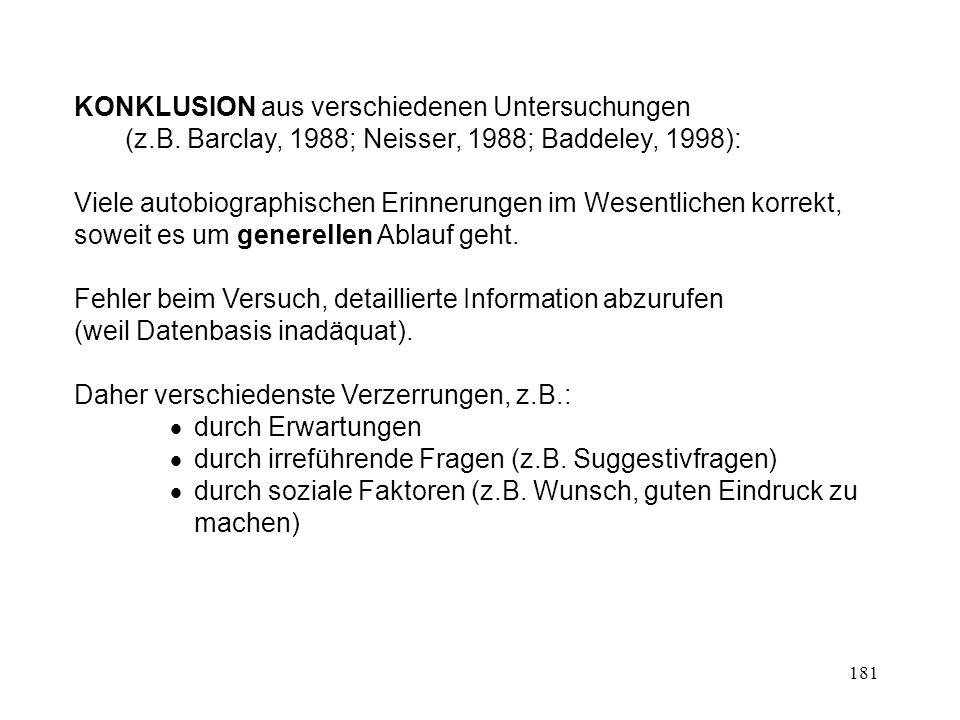 181 KONKLUSION aus verschiedenen Untersuchungen (z.B. Barclay, 1988; Neisser, 1988; Baddeley, 1998): Viele autobiographischen Erinnerungen im Wesentli