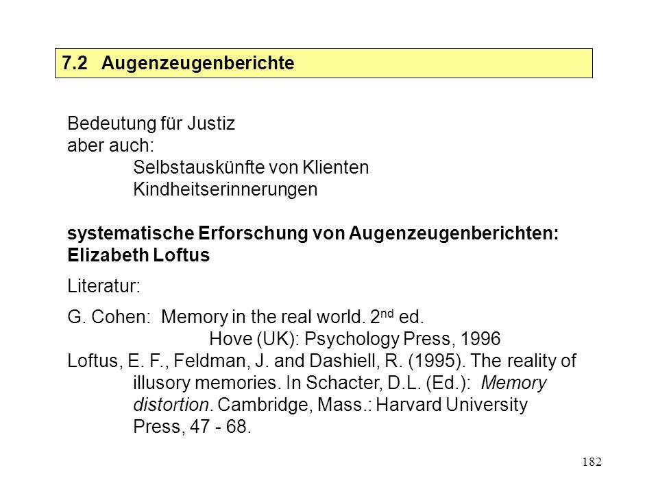 182 7.2 Augenzeugenberichte Bedeutung für Justiz aber auch: Selbstauskünfte von Klienten Kindheitserinnerungen systematische Erforschung von Augenzeug
