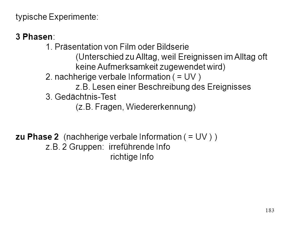 183 typische Experimente: 3 Phasen: 1. Präsentation von Film oder Bildserie (Unterschied zu Alltag, weil Ereignissen im Alltag oft keine Aufmerksamkei