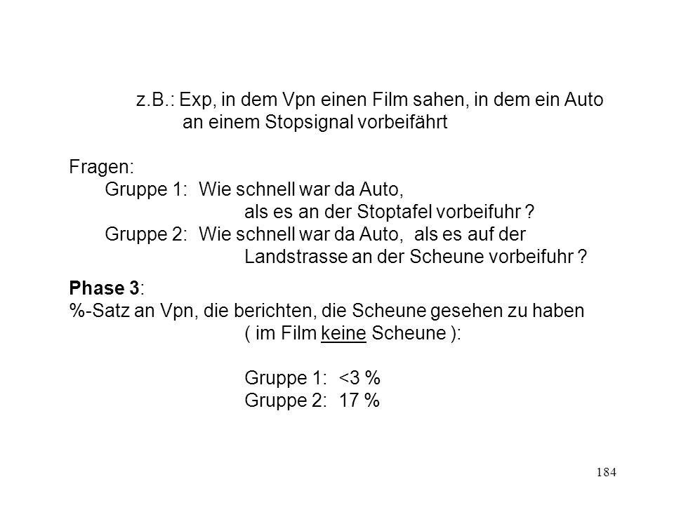 184 z.B.: Exp, in dem Vpn einen Film sahen, in dem ein Auto an einem Stopsignal vorbeifährt Fragen: Gruppe 1: Wie schnell war da Auto, als es an der S