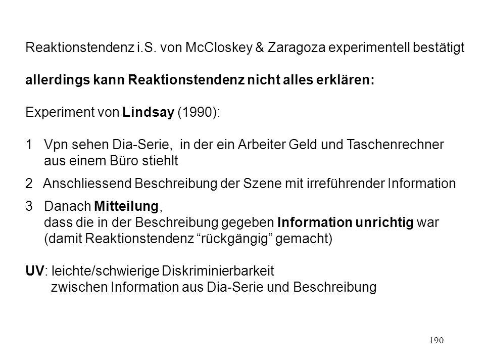 190 Reaktionstendenz i.S. von McCloskey & Zaragoza experimentell bestätigt allerdings kann Reaktionstendenz nicht alles erklären: Experiment von Linds