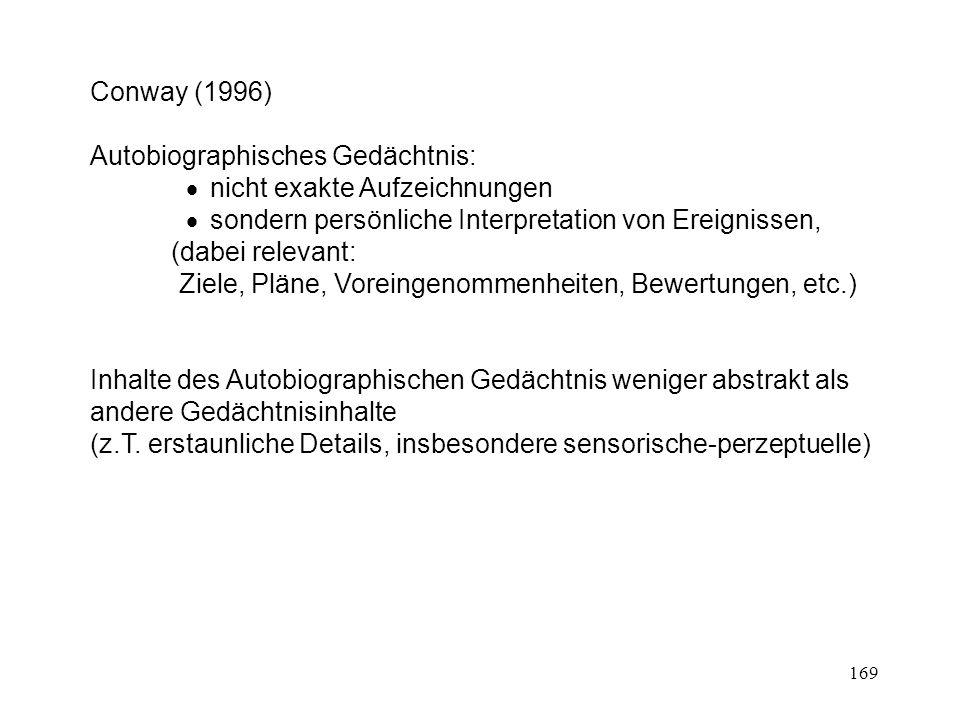 169 Conway (1996) Autobiographisches Gedächtnis: nicht exakte Aufzeichnungen sondern persönliche Interpretation von Ereignissen, (dabei relevant: Ziel