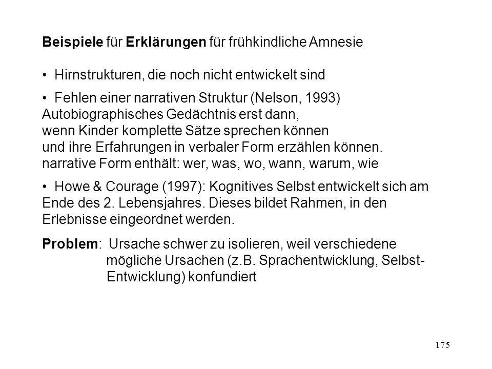 175 Beispiele für Erklärungen für frühkindliche Amnesie Hirnstrukturen, die noch nicht entwickelt sind Fehlen einer narrativen Struktur (Nelson, 1993)