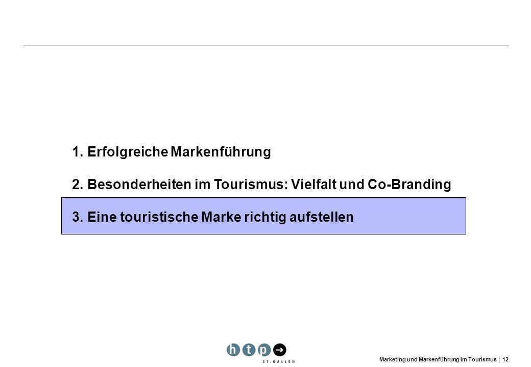 Marketing und Markenführung im Tourismus 12 1.Erfolgreiche Markenführung 2.Besonderheiten im Tourismus: Vielfalt und Co-Branding 3. Eine touristische