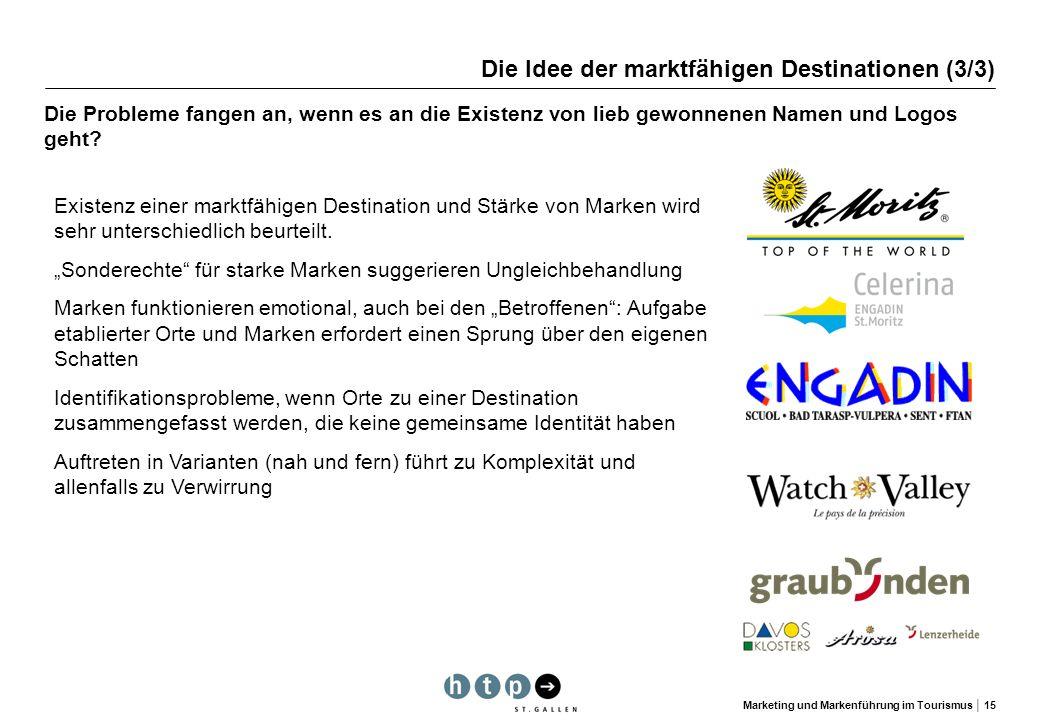 Marketing und Markenführung im Tourismus 15 Die Idee der marktfähigen Destinationen (3/3) Die Probleme fangen an, wenn es an die Existenz von lieb gew