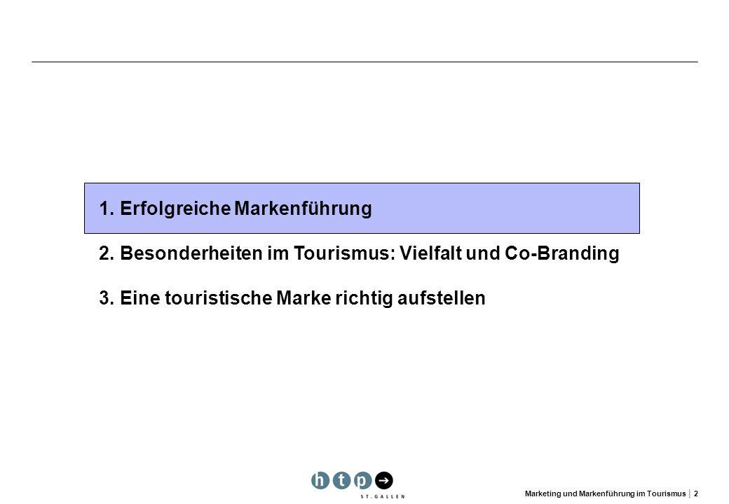 Marketing und Markenführung im Tourismus 2 1.Erfolgreiche Markenführung 2.Besonderheiten im Tourismus: Vielfalt und Co-Branding 3. Eine touristische M