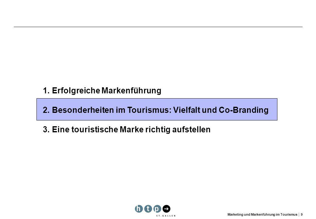 Marketing und Markenführung im Tourismus 9 1.Erfolgreiche Markenführung 2.Besonderheiten im Tourismus: Vielfalt und Co-Branding 3. Eine touristische M