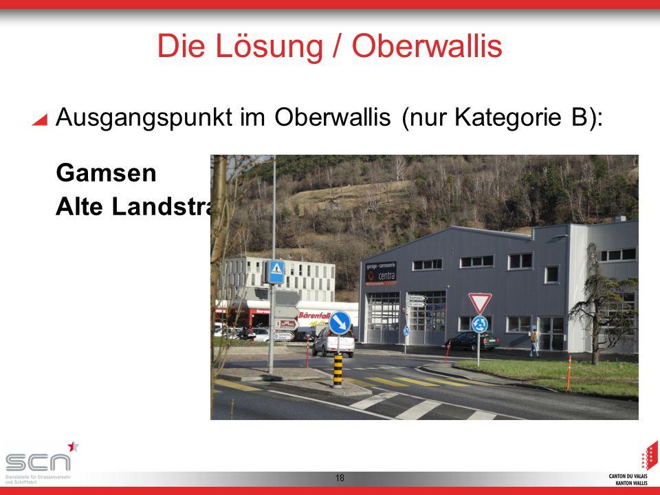 18 Die Lösung / Oberwallis Ausgangspunkt im Oberwallis (nur Kategorie B): Gamsen Alte Landstrasse 1
