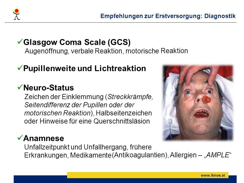 www.lknoe.at Glasgow Coma Scale (GCS) Augenöffnung, verbale Reaktion, motorische Pupillenweite und Lichtreaktion Neuro-Status Zeichen der Einklemmung